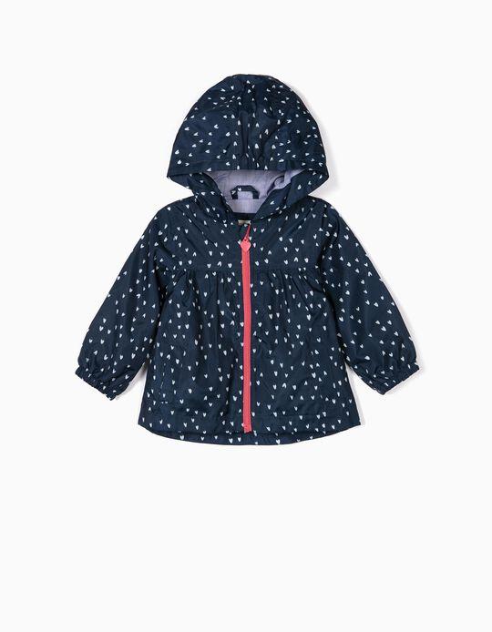 Corta-vento com Capuz para Bebé Menina 'Hearts', Azul Escuro