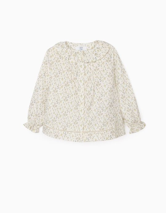 Floral Blouse for Baby Girls, White