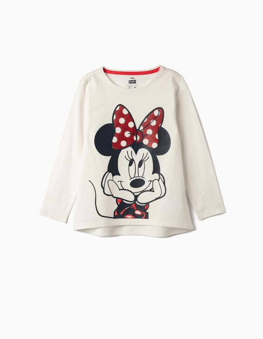 T-shirt Manga Comprida para Menina 'Minnie', Branco