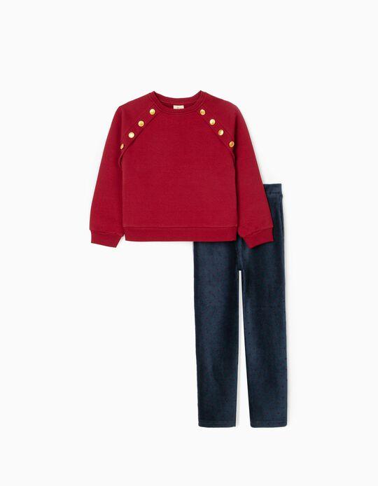 Conjunto Sudadera + Leggings para Niña, Rojo/Azul Oscuro