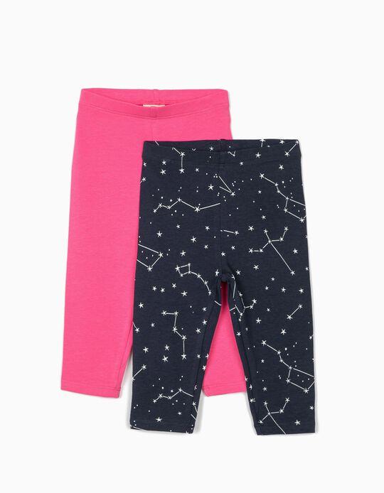 2 Leggings para Bebé Niña 'Stars', Rosa/Azul Oscuro