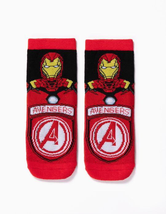 Meias Antiderrapantes para Menino 'Iron Man', Vermelho