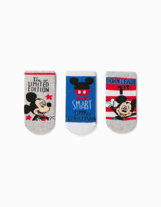 3 Pairs of Socks for Baby Boys, 'Mickey Mouse', Multicoloured
