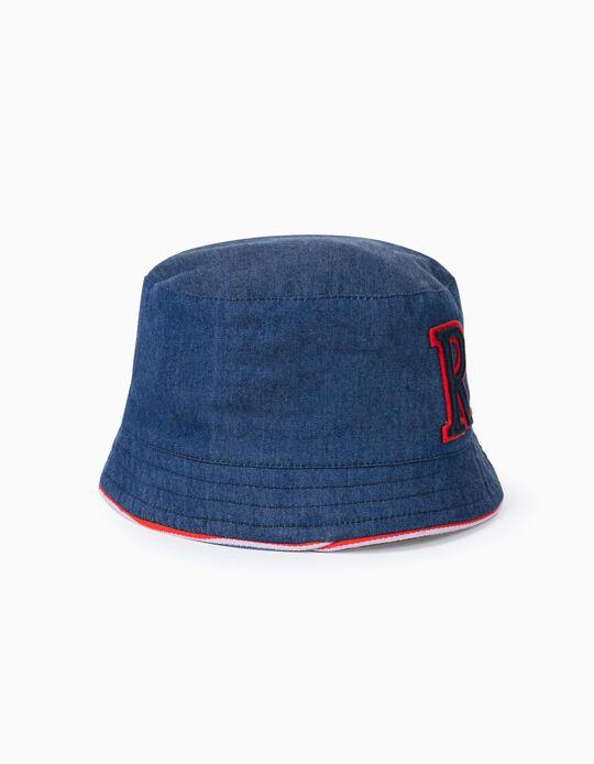 Chapeau réversible garçon 'R', denim/rouge