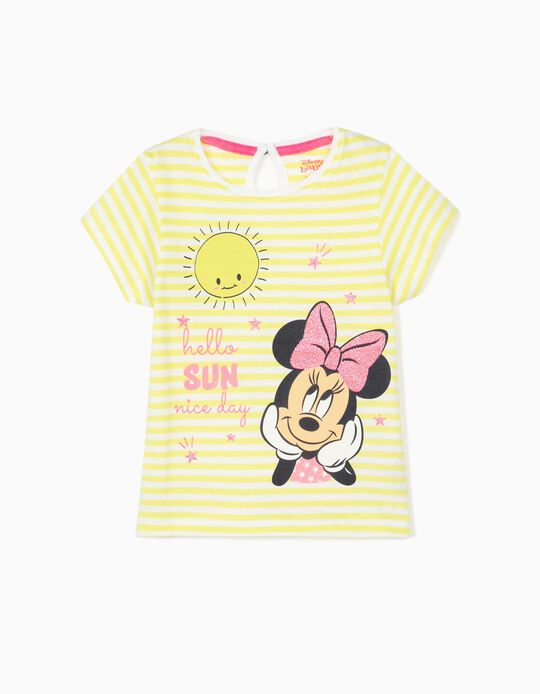 Striped T-Shirt for Baby Girls, 'Minnie Mouse', Lime Yellow/White