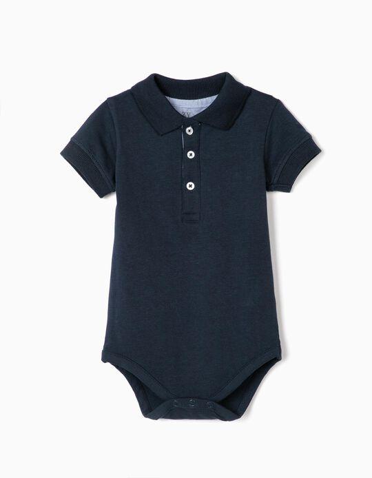 Body-Polo bébé garçon, bleu foncé