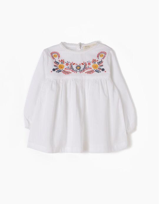 Blusa Bebé Niña Bordados Blanca