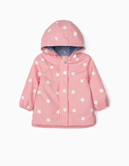 Hooded Parka for Baby Girls 'Stars', Pink