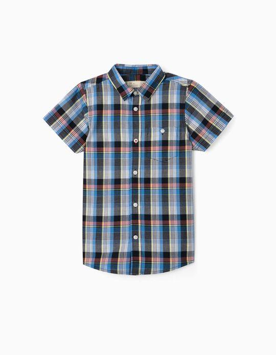 Camisa Manga Curta Xadrez para Menino, Azul