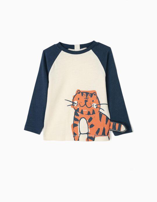 T-shirt Manga Comprida para Bebé Menino 'Tiger', Branco e Azul