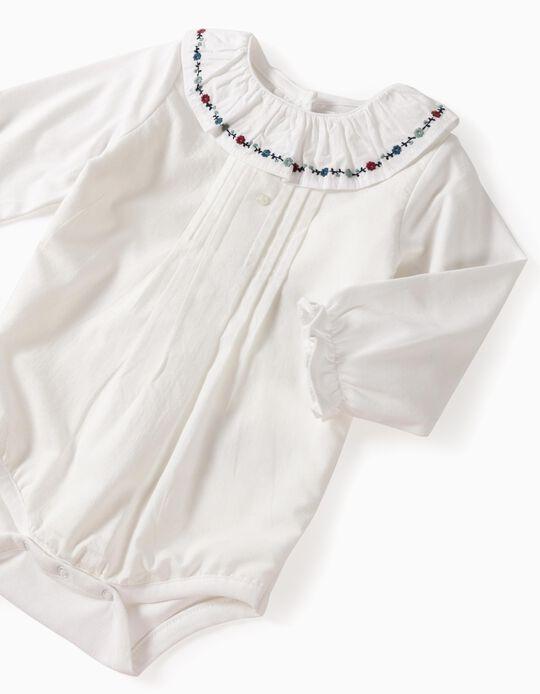 Blouse-Bodysuit for Newborn Baby Girls 'B & S', White