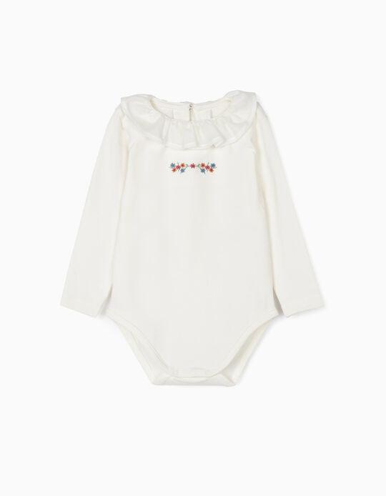Body para Bebé Menina 'Flores', Branco