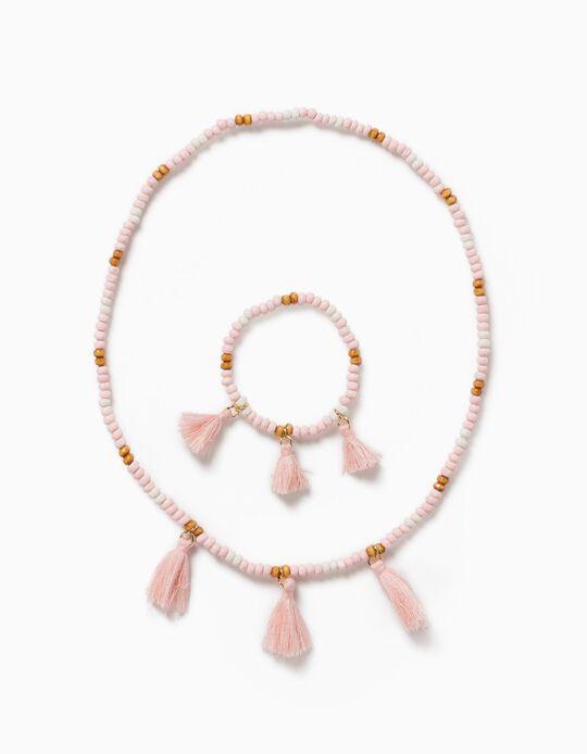 Collier et bracelet en petites perles fille, rose clair