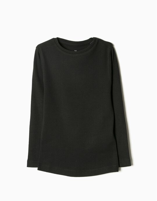 Camiseta de Manga Larga Básica Negra
