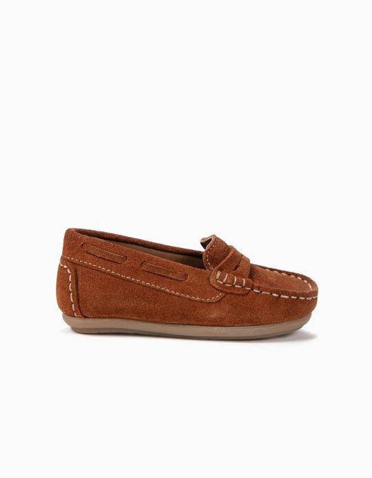 Sapatos de Camurça para Bebé Menino 'Loafers', Castanho