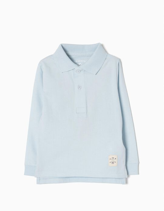 Long-Sleeved Polo Shirt for Baby Boys, Light Blue