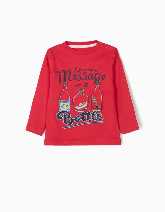 T-shirt Manga Comprida para Bebé Menino 'Sea',  Vermelho