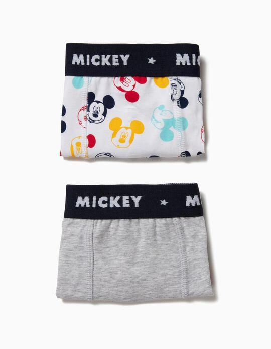 Pack 2 Boxers para Niño 'Mickey', Gris y Blanco