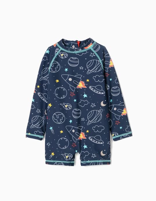 Romper Swimsuit for Baby Boys, UPF 80, Dark Blue