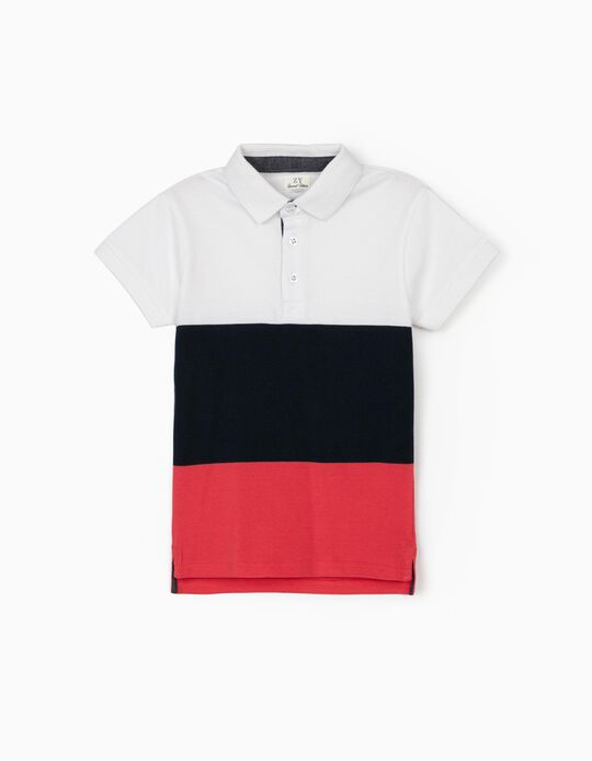 Short Sleeve Polo Shirt for Boys, White/Blue/Coral