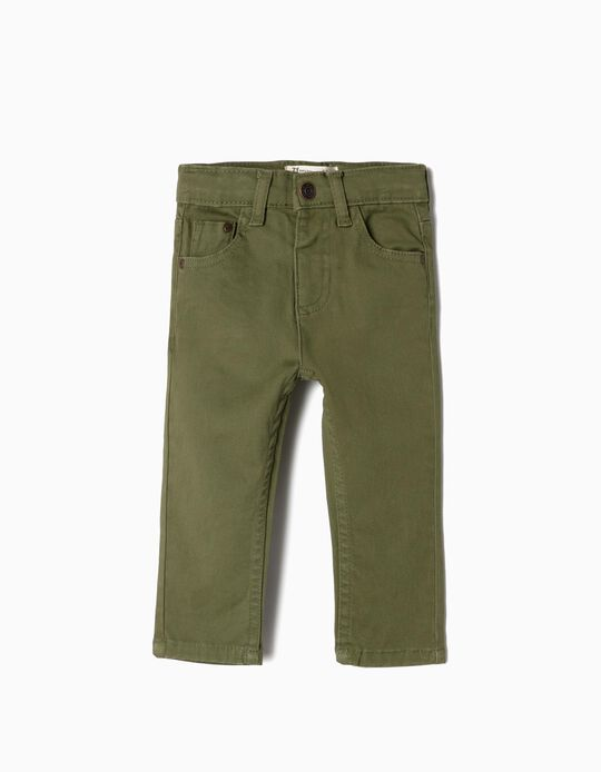 Twill Trousers for Baby Boys, Green