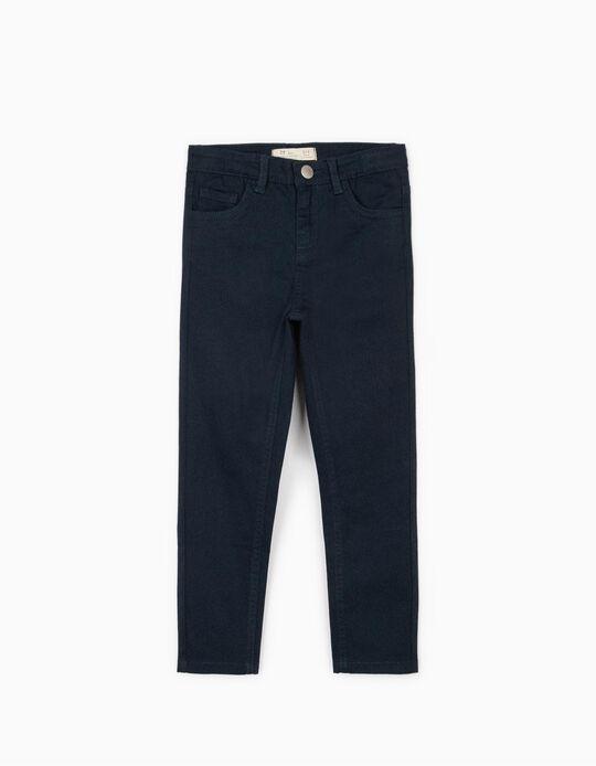 Pantalón de Sarga para Niña, Azul Oscuro