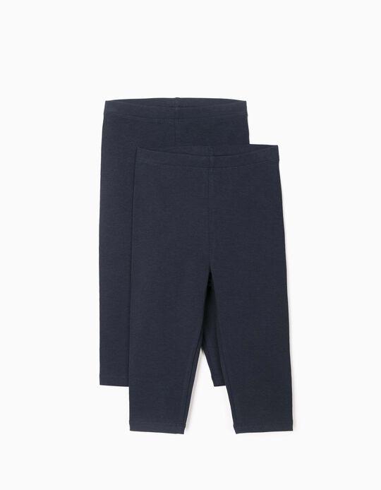 2 Pairs of Leggings for Baby Girls, Dark Blue