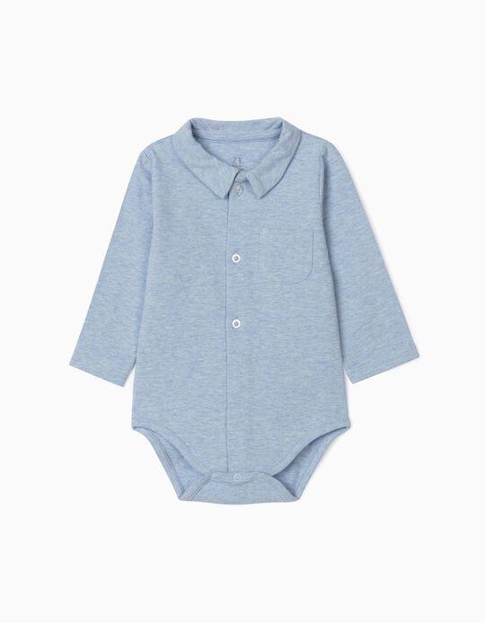Shirt-Bodysuit for Newborn Baby Boys, Marl Blue