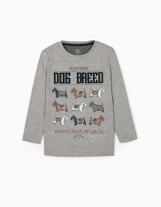 Camiseta de Manga Larga para Niño 'Dog Breed', Gris