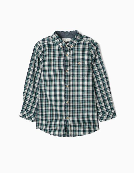 Chemise à carreaux garçon, bleu/vert