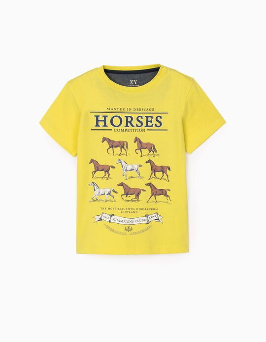 T-Shirt for Boys 'Horse Competition', Yellow