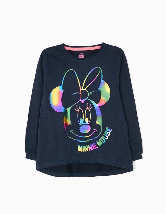 T-shirt Manga Comprida Minnie Mouse Azul