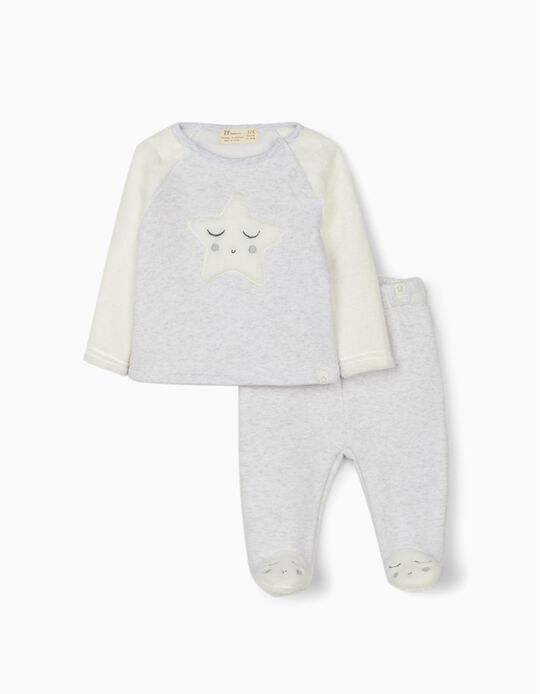 Tracksuit for Newborn Baby Boys 'Star', White/Grey
