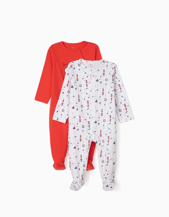 2 Sleepsuits for Baby Boys, 'Sailor', Red/White