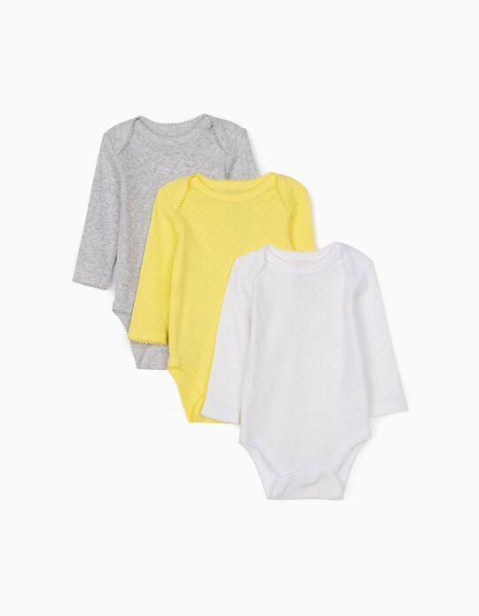 3 Bodies com Textura para Bebé Menina, Branco/Amarelo/Cinza