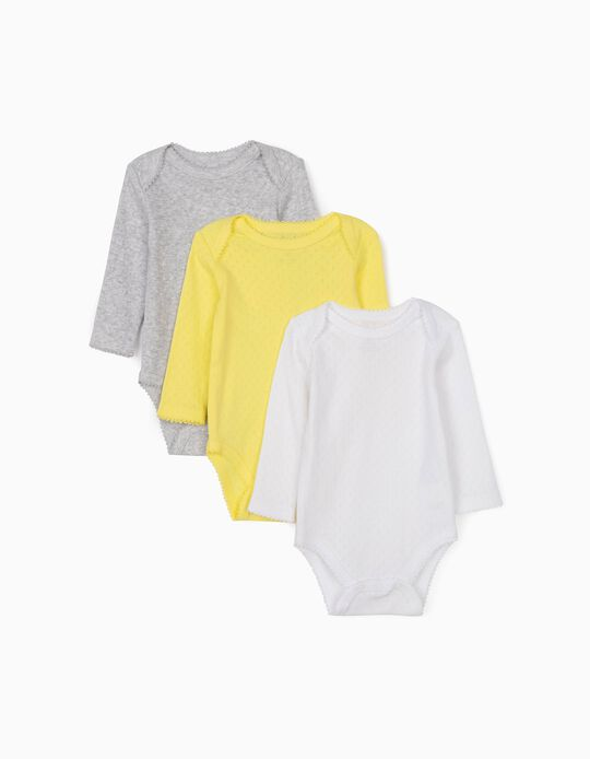 3 Textured Bodysuits for Baby Girls, White/Yellow/Grey