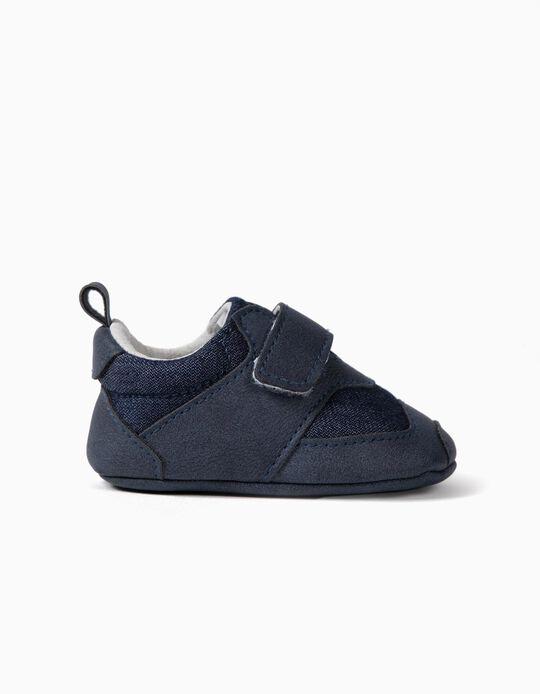 Zapatos de Dos Materias para Recién Nacido, Azul