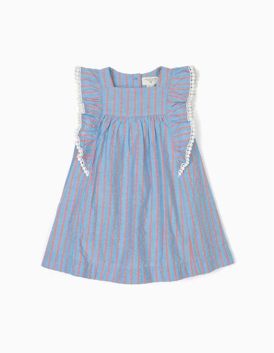Vestido con Cubrepañal para Bebé Niña 'B&S' Rayas, Azul