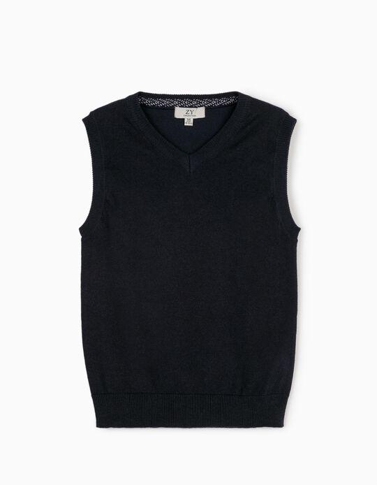 Camisola de Malha sem Mangas para Menino, Azul Escuro