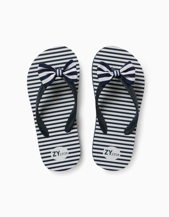 Flip-flops with Bow for Girls, Blue/White