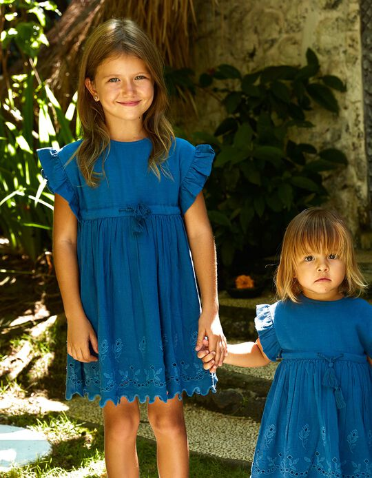 DRESS SS EYELET EMBR, BLUE19, 4/5