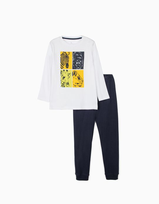 Long Sleeve Pyjamas for Boys, 'Animals', White/Dark Blue