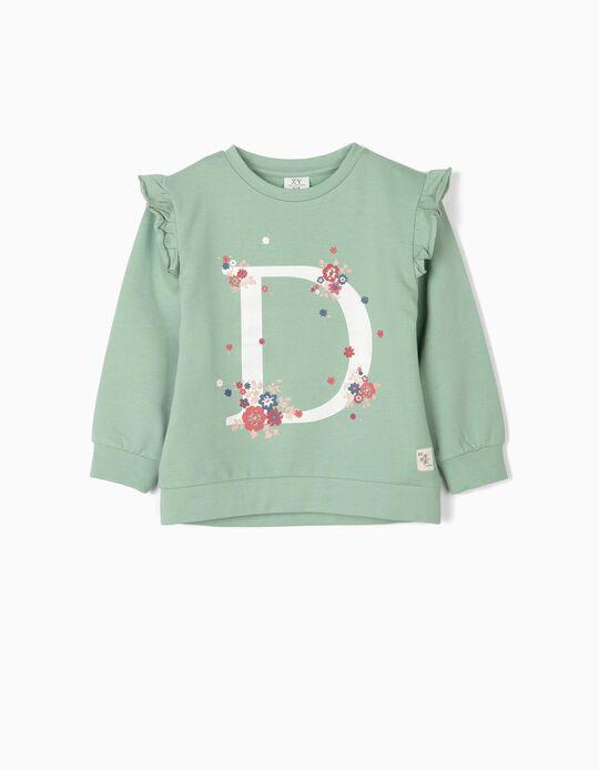 Sweatshirt para Menina 'Flores', Verde