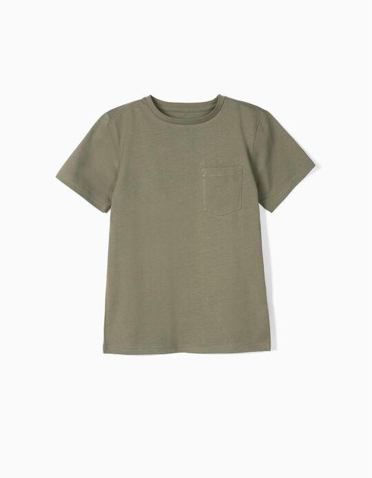 Camiseta con Bolsillo para Niño de Algodón Orgánico, Verde