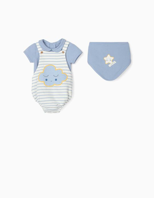 3-Piece Outfit for Newborn Baby Boys, 'Cloud', Blue/White