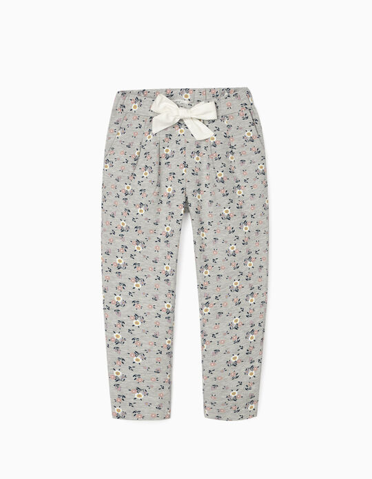 Joggers for Girls, 'Flowers', Grey