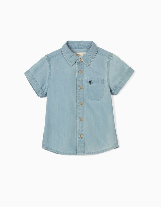 Denim Shirt for Baby Boys, 'Palm Tree', Blue