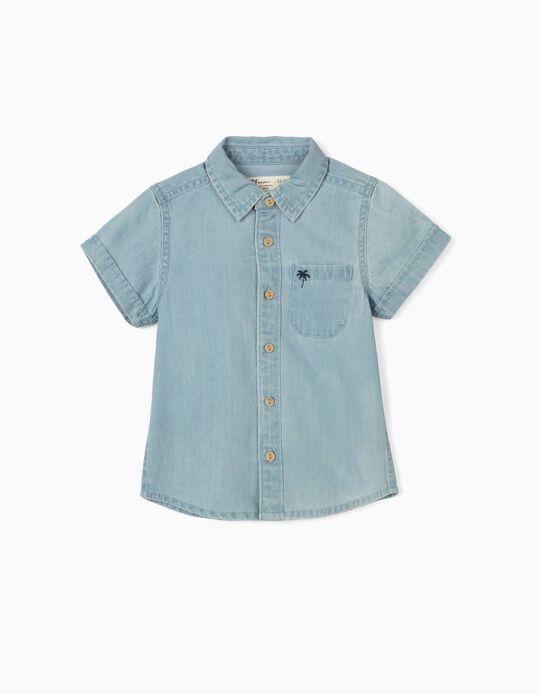 Camisa Denim para Bebé Menino 'Palm Tree', Azul