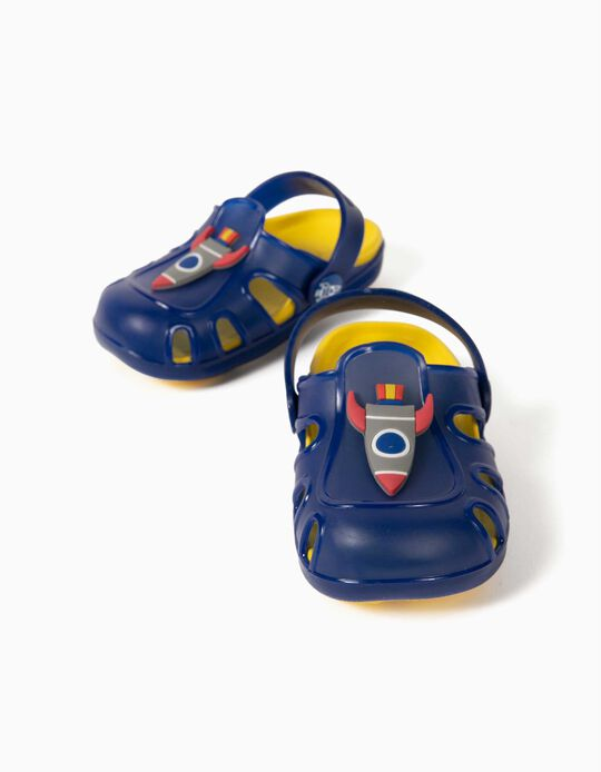 Clog Sandals for Baby Boys, 'Big Rocket', Blue/Yellow