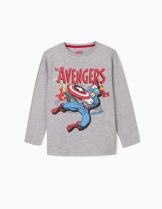 T-shirt Manga Comprida para Menino 'The Avengers', Cinza